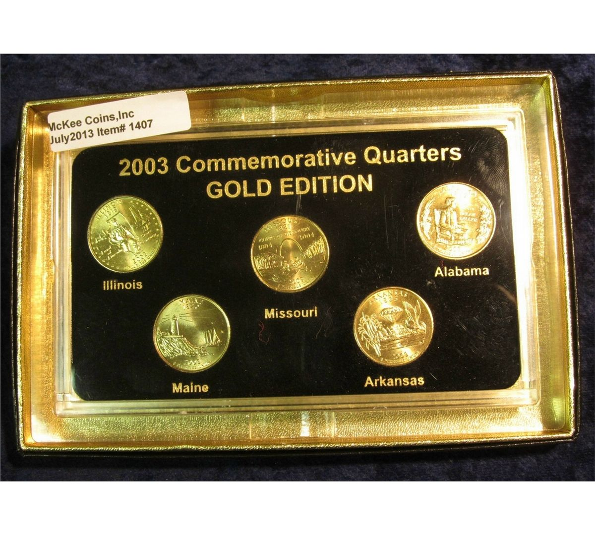 2003 Gold-plated Statehood Quarter Set in a special holder ...  sc 1 st  iCollector.com & 1407. 2003 Gold-plated Statehood Quarter Set in a special holder. (5 ...