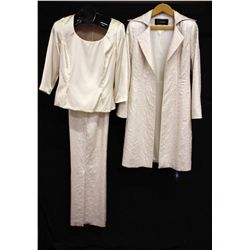 Louise three piece set long jacket & pants, size 8; with blouse, size Medium