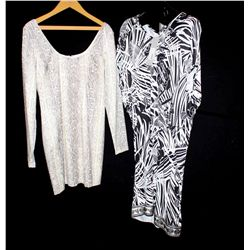 Lot [2] PIECES:  [1] Jay Godfrey snake print dress, size 12 and [1] Roberto Cavalli print tunic, siz