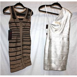 Lot [2] DRESSES:  [1] Musani Gold one shoulder metallic silver dress, size 8 and [1] Bandage dress