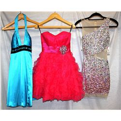 Lot [3] DRESSES:  [1] Jovani open waist dress, size 0, [1] Jovani strapless dress, size 0 and [1] St