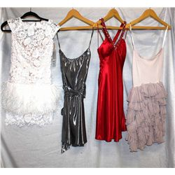 Lot [4] DRESSES:  [1] St. Thomas strapless pink dress, size Medium, [1] St. Thomas loop back dress,