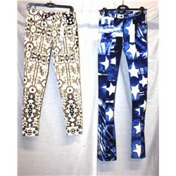 Lot [2] PIECES:  [1] JustCavalli - Roberto Cavalli star print pants, size 2 and [1] JustCavalli - Ro