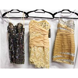 Lot [3] DRESSES:  [1] Mac Duggal nude bustier dress, size 6, [1] Mandalay strapless taupe dress, siz