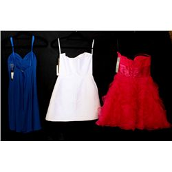 Lot [3] DRESSES:  [1] Jovani strapless pleats and ruffles dress, size 4, [1] Juan Carlos Pinera whit