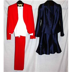 Lot [2] PIECES:  [1] Pants and jacket, size 6 with Tees by Tina white top and [1] Navy jacket with s