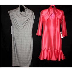 Lot [2] DRESSES:  [1] Louise dress with ruffles, size 4 and [1] Grey dress, size 4