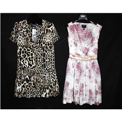 Lot [2] DRESSES:  [1] Roberto Cavalli sleeveless print dress, size 6, [1] JustCavalli print dress, s