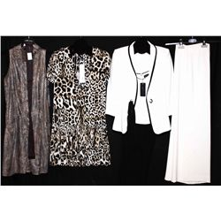 Lot [4] PIECES:  [1] Javier Simorra camisole with black trim, size 4, [1] JustCavalli print dress, s