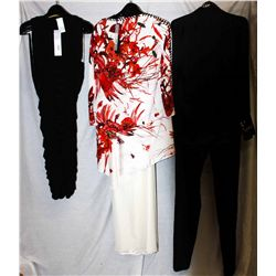 Lot [3] PIECES:  [1] JustCavalli black blouse, size 6, [1] JustCavalli print tunic , size 6 and [1]