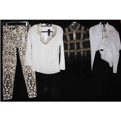 Lot [4] PIECES:  [1] Marccain white blouse with zipper and ruffles in front, size 4, [1] JustCavalli