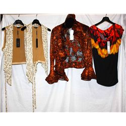 Description Change:Lot [4] PIECES:  [1] Isabel De Pedro feather print shirt, size 10, [1] Louise ru