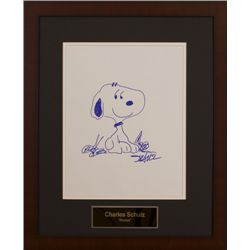 Snoopy drawing autographed by Charles Shultz