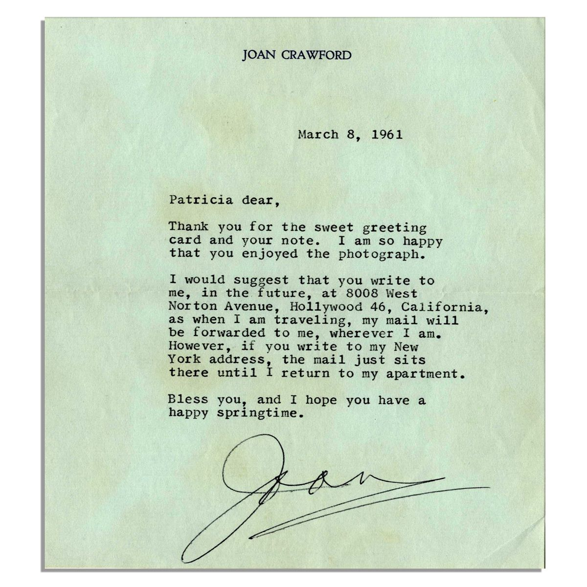 Joan Crawford Typed Letter Signed   If You Write To My New