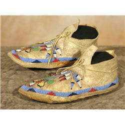 Santee Sioux Beaded Child's Moccasins