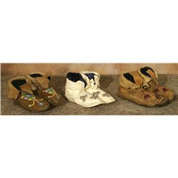 Three pairs of Antique Indian Moccasins