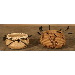 Pair of Pomo Feather Baskets