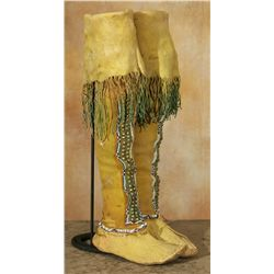 Kiowa High Top Moccasins, Beaded and Tacked