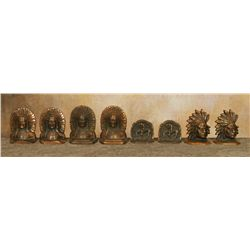Four sets of Antique Metal Indian Bookends