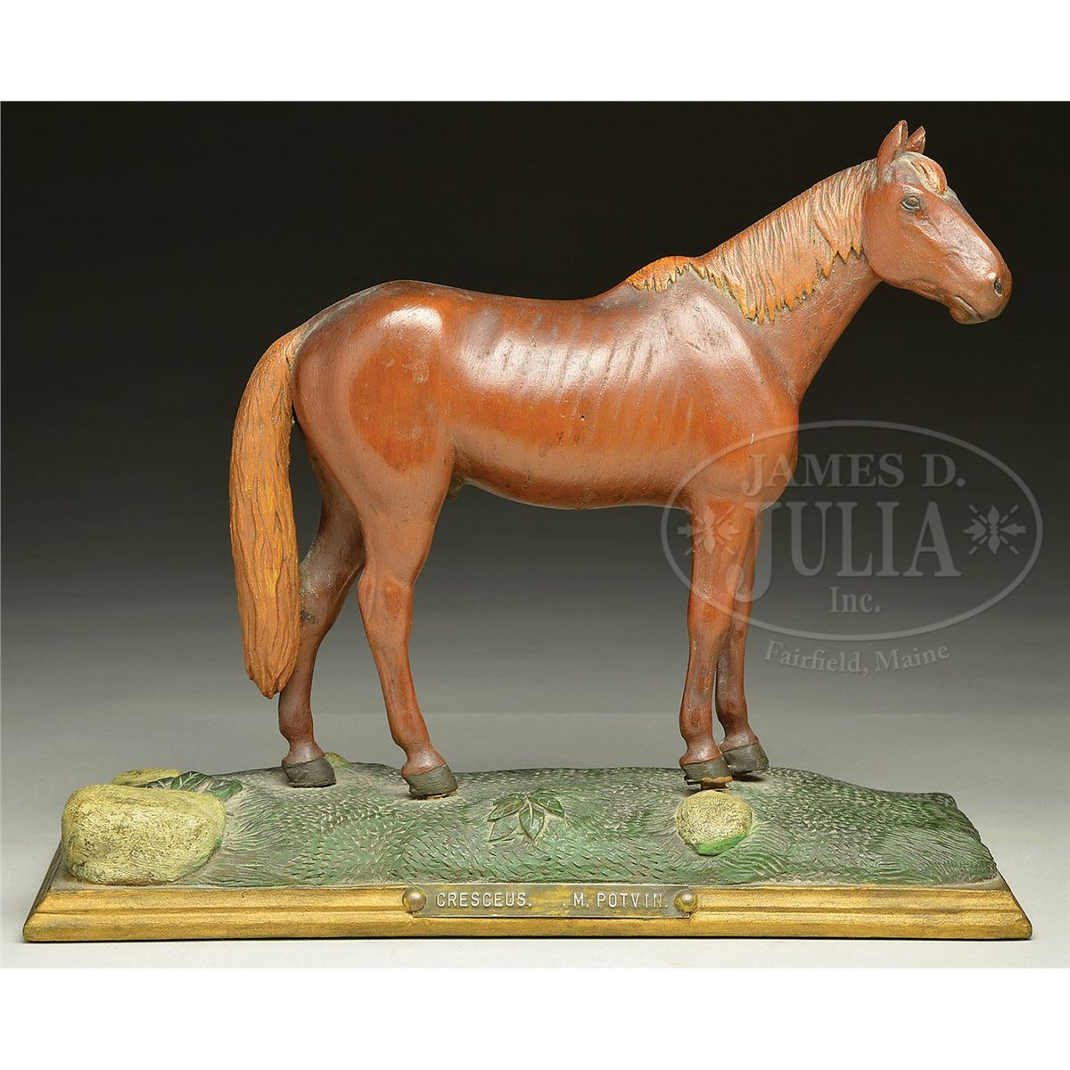 Rare carving of the racehorse quot cresceus by rhode