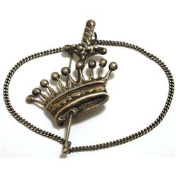 Pre-Owned Sterling Silver Crown & Sword Pin with Chain _- Rohner