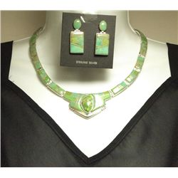 Carico Lake Turquoise Inlay Sterling Silver Link Necklace & Earrings Set -_ Yellow Hair