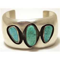 Vintage Old Pawn Zuni Turquoise Sterling Silver SLIGHTLY BENT Cuff Bracelet - Lani