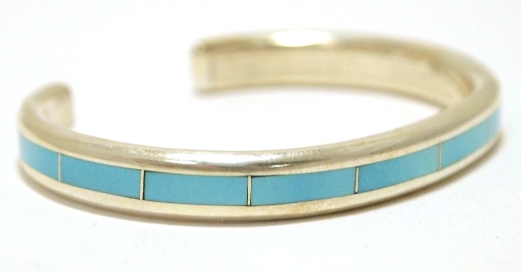 Zuni Turquoise Inlay Sterling Silver Cuff Bracelet Larry Loretto