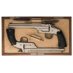"Rare Cased Pair of Smith & Wesson First Model ""Model of 1891"" Single Shot Pistols with British Proof"