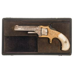 Inscribed Cased Engraved Gold and Silver Smith & Wesson Model No. 1 3rd Issue Revolver with Inscribe