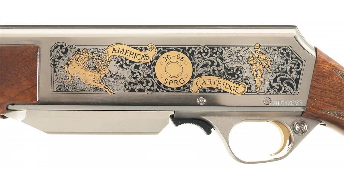 engraved gold inlaid browning 30 06 springfield caliber 100th