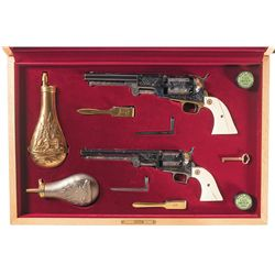 Exquisite Cased Set of Two Leonard Francolini Signed Engraved and Gold Inlaid Second Generation Colt