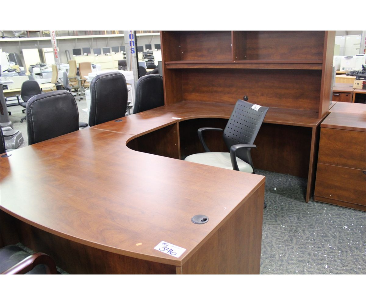 Cherry Bow Front U Shape Executive Office Suite With Hutch