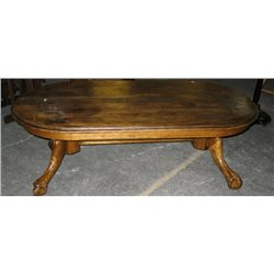 Vintage Wooden Coffee Table W Claw Feet