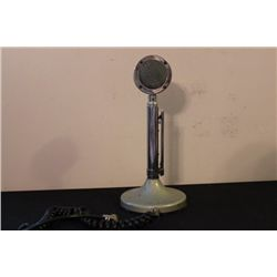 CROME PLATED MICROPHONE ON GRAY TABLE BASE BY ASTATIC -