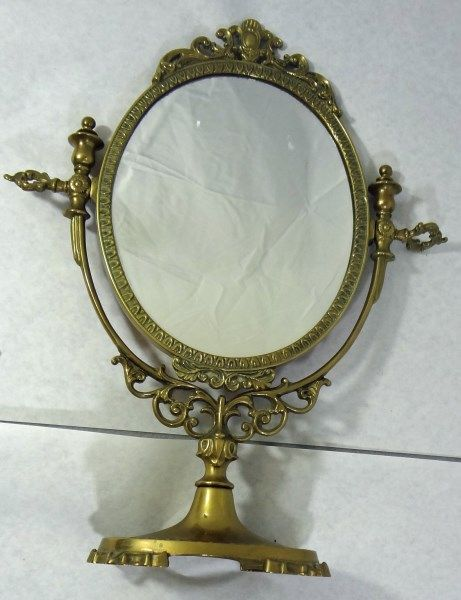 Vintage Brass Table Top Display Mirror