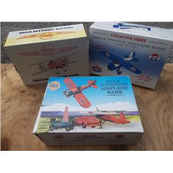 (3) Bank Airplanes - Shell, Gulf, Amoco in boxes