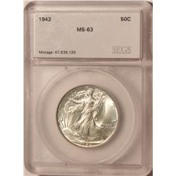 1942 Walking Liberty SGS MS63