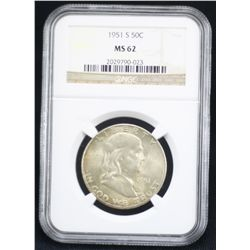 1951-S Franklin Half NGC MS62