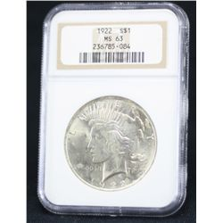 1922 Peace Dollar NGC MS63