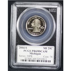 2004-S Michigan Quarter PCGS PR69DCAM