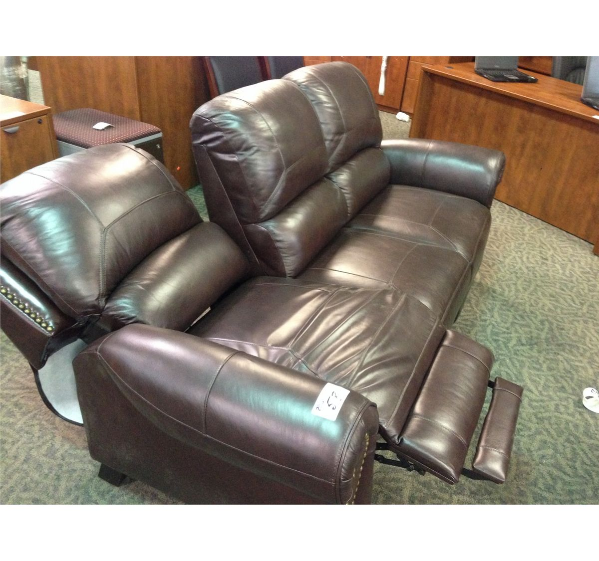 Dark Brown Dual Reclining Leather Sofa With Brass Tacs