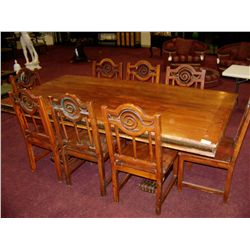 ARTS AND CRAFTS STYLE WOOD DINING ROOM TABLE 8 CHAIRS