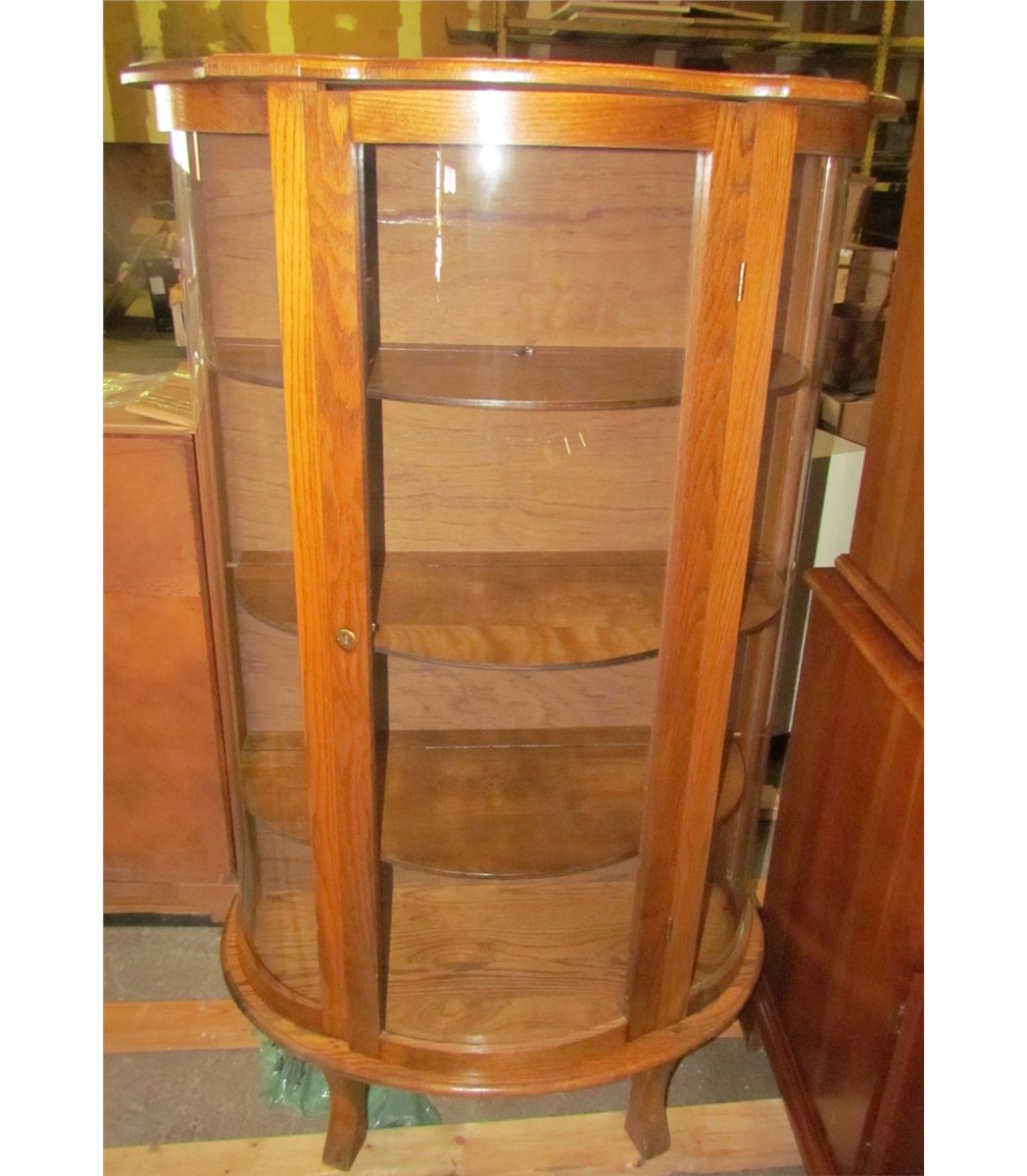 Image 1 Antique Cherry Wooden Curio Cabinet With Glass Doors And Original Skeleton Key