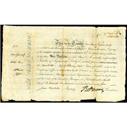 North American Land Company, 1795 Founder's Share.