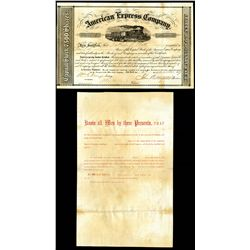 american express company 1859 type iii stock certificate with