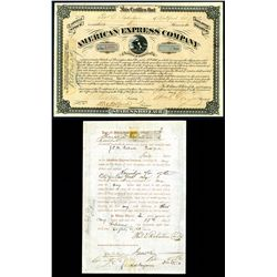 american express company 1873 type vi stock certificate