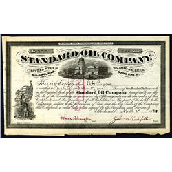 Standard Oil Co. 1881 Issue Stock certificate with J.D. Rockefeller Signature.