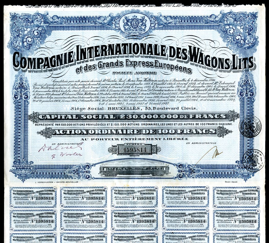 compagnie internationale des wagons lits 1927 bond group of 24 railroad certificates. Black Bedroom Furniture Sets. Home Design Ideas