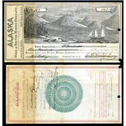 Alaska Gold & Silver Mining Company, 1878 Stock Certificate Rarity.